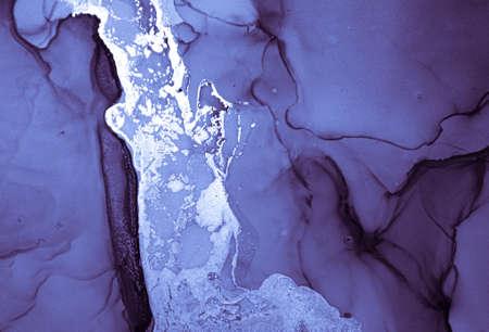Navy Ink Painting. Fluid Flow Mix. Indigo Alcohol Pattern. Ink Paint. Water Print. Blue Oil Design. Watercolour Modern Drops. Deep Geode Art. Winter Background. Liquid Ink Painting. Banque d'images