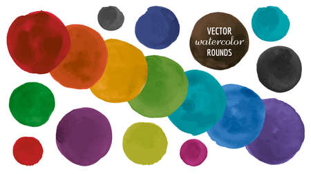 Water Colour Circle. Abstract Shapes Drawing. Ink Splash on Paper. Vector Water Colour Circle. Circular Hand Paint Rounds. Isolated Dots Illustration. Art Drops. Brush Stroke Water Colour Circle. Banque d'images