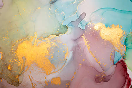 Golden Abstract Background Liquid. Alcohol Ink on Paper. Luxury Wave Illustration. Fluid Marble Paint. Abstract Liquid. Contemporary Grunge Wallpaper. Ink Abstract Liquid.