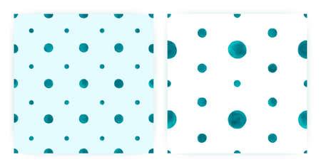 Vector Watercolor Polka. Seamless Circle Texture. Blue Paint Brush Background. Watercolor Polka Fabric. Pastel Art Dots. Modern Cute Repeat. Geometric Spot Print. Abstract Watercolor Polka. Banque d'images
