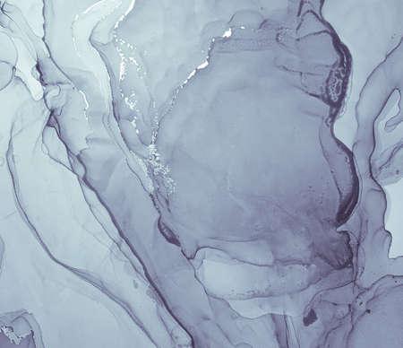 Purple Liquid Paint Waves. Gray Grey Acrylic Ink Background. Marble Abstract Effect. Creative Liquid Paint. Contemporary Fluid Splash. Luxury Alcohol Oil Print. Flow Liquid Paint Waves. Banque d'images
