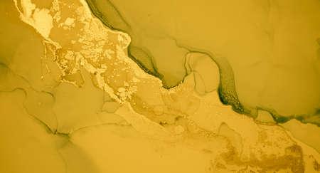 Gold Fluid Art. Marble Liquid Background. Acrylic Oil Painting. Abstract Print. Fluid Art. Gradient Flow Illustration. Yellow Watercolour Splash. Luxury Alcohol Ink Wallpaper. Liquid Fluid Art.