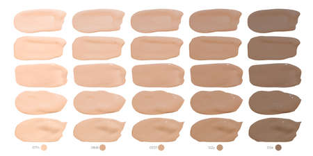 Foundation Smudges. Cosmetic Concealer Smears. Color Realistic Strokes. Face Beauty Powder. Vector Makeup Foundation