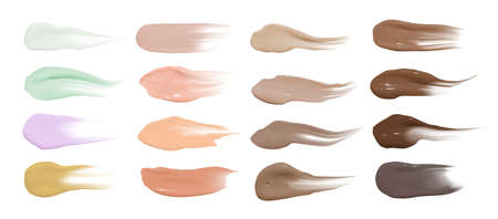 Foundation smears. Makeup concealer base. Isolated paint swatch. Liquid brown background. Foundation cream isolated on Иллюстрация