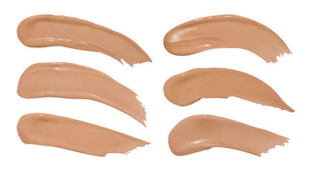 Foundation smudges. Make up concealer splash. Fashion vector swatch. Cosmetic brown background. Foundation smears. Face