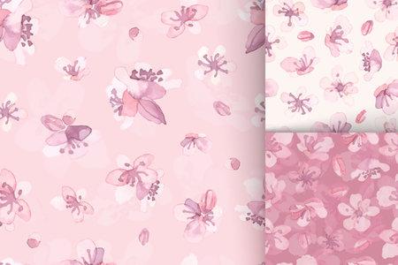 Seamless sakura pattern. Spring wedding painting. Set of pink asian designs. Watercolor sakura flower. Vector cherry