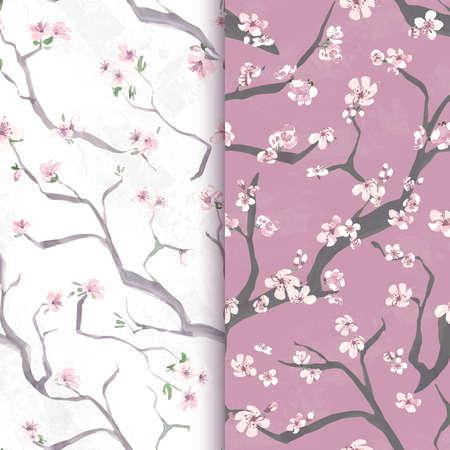 Seamless sakura flower. Vector cherry wallpaper. Japan asian background. Watercolor sakura pattern. Spring vintage