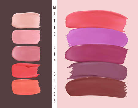 Lipstick samples. Abstract design with color nail splashes. Lipstick smear illustration. Vector cosmetic texture. Color