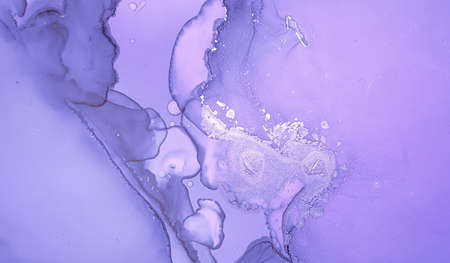 Purple Liquid Paint. Gray Luxury Acrylic Art Фото со стока
