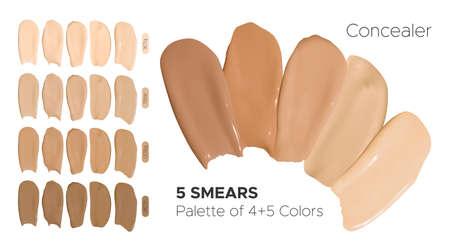 Vector Foundation Smudges. Make Up Concealer Gel. Color Female Swatch. Face Care Background. Foundation Smudges.