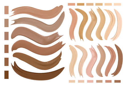 Beige Make Up Foundation Smudges. Cosmetic Concealer Texture. Paint Female Strokes. Skin Beauty Background. Brown