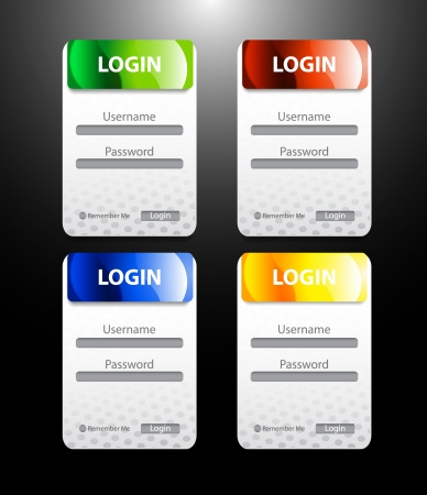 Vector glossy color login  register forms Vector