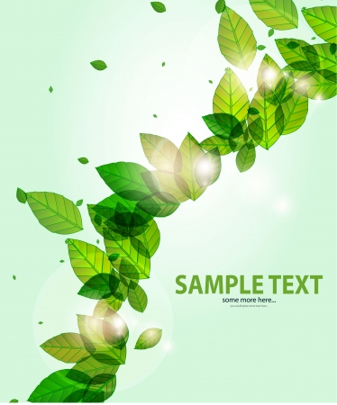 shiny green background with leaves and flares Stock Vector - 14133288