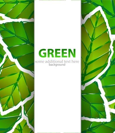 녹색 종이 스타일의 배경 나뭇잎 일러스트