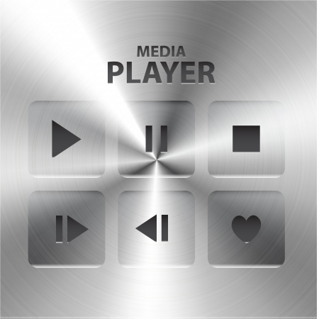 Vector buttons: play, stop, rewind, back, forward, pause Vector