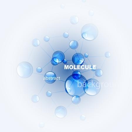 광택 분자 배경입니다. 파란색과 흰색