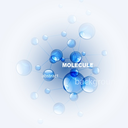 glossy molecule background. Blue and white