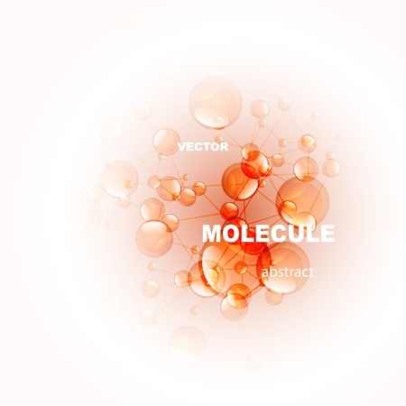 glossy orange molecule background Vector