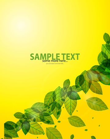 shiny green background with leaves and flares Stock Vector - 14133274