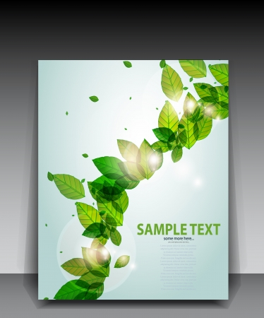 shiny green background with leaves and flares Illustration