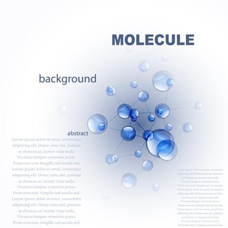 벡터 광택 파란색 분자 배경