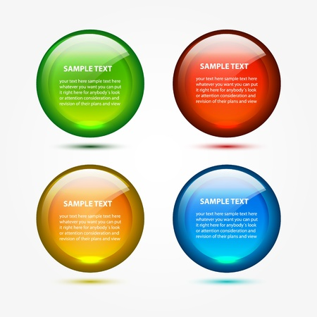 text box: Vector round glossy web boxes Illustration