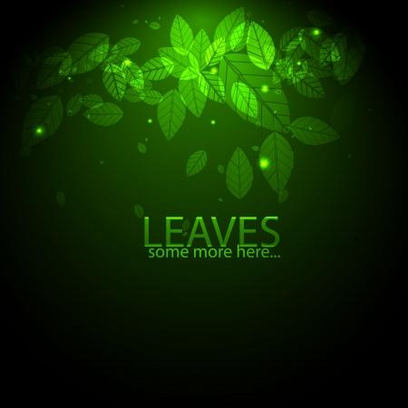 잎과 불길 벡터 빛나는 녹색 배경