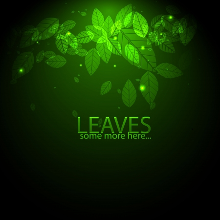 Vector shiny green background with leaves and flares