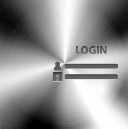 website window: Vector brushed metal login form