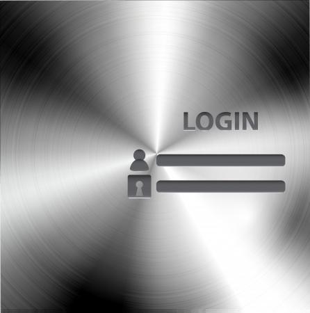 form a circle: Vector brushed metal login form