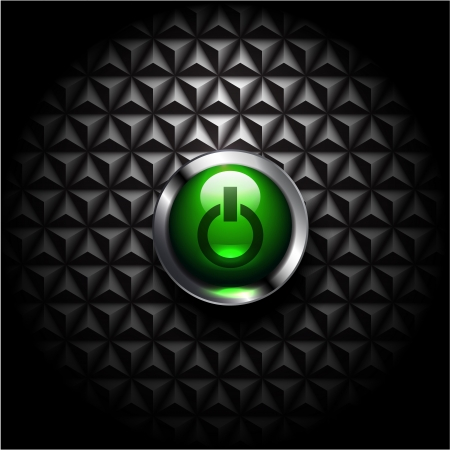 Vector glossy power button on black texture Stock Vector - 14931851