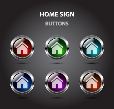 Vector glossy home icons (6 colors) Vector