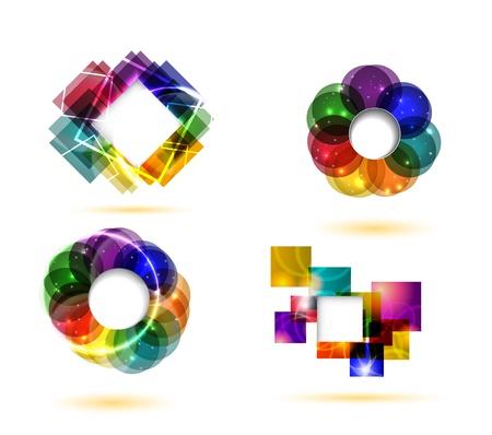 Abstract rainbow shiny design elements Vector