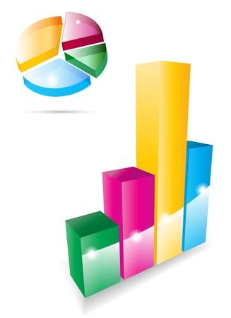 Vector 3d graph icon set Stock Vector - 14930440