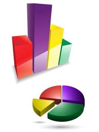 Vector 3d graph icon set Stock Vector - 14930205