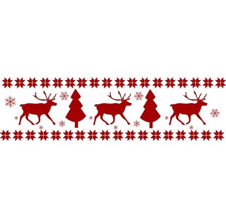 hulst: Vector Chritmas Nordic patroon (rendieren en bomen) Stock Illustratie