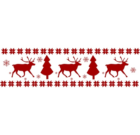 Vector Chritmas Nordic pattern (reindeers and trees) Illustration