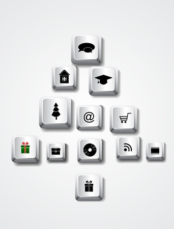 Vector Christmas keyboard keys in shape of tree Vector