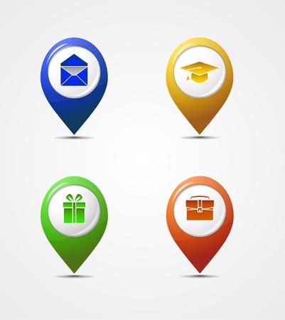 elhelyezkedés: Vector meg a térképen mutató ikonok