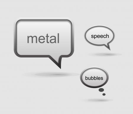 Glossy metal vector speech bubble