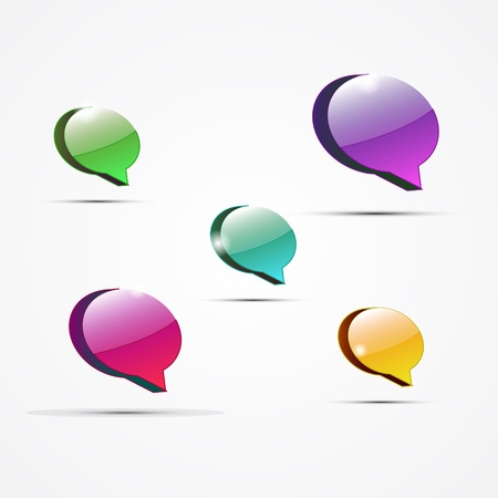 Vector glossy color speech bubbles Stock Vector - 14930184