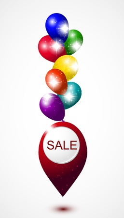 Vector hot air balloons with pointer. Sale  gifts here