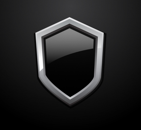 metal shield: Vector glossy black shields isolated