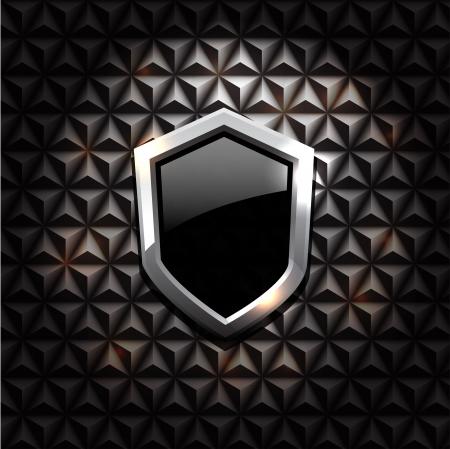 Vector glossy shield on black texture Vector