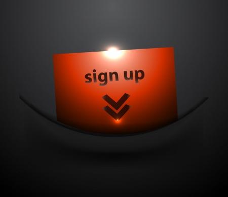 login button: Vector sign up  login button in black pocker Illustration