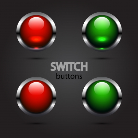 led light: Vector glossy power buttons (red and green)