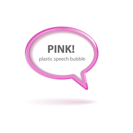 Vector pink plastic speech bubble