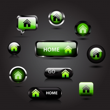 Vector home button glossy icons Vector