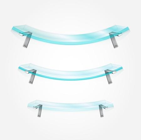 furniture shop: Set of vector glass shelves Illustration