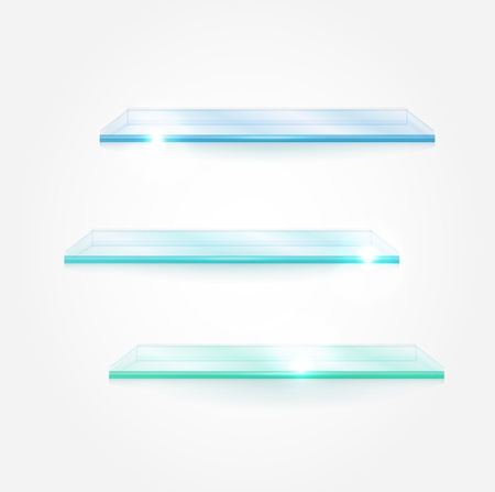 Set of vector glass shelves Illustration